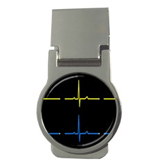 Heart Monitor Screens Pulse Trace Motion Black Blue Yellow Waves Money Clips (Round)