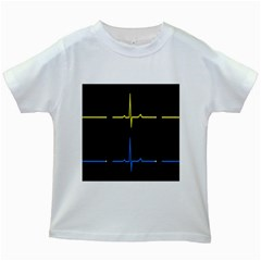 Heart Monitor Screens Pulse Trace Motion Black Blue Yellow Waves Kids White T-Shirts