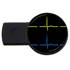 Heart Monitor Screens Pulse Trace Motion Black Blue Yellow Waves USB Flash Drive Round (2 GB)