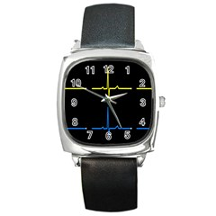 Heart Monitor Screens Pulse Trace Motion Black Blue Yellow Waves Square Metal Watch
