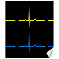 Heart Monitor Screens Pulse Trace Motion Black Blue Yellow Waves Canvas 20  x 24