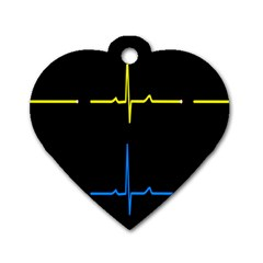 Heart Monitor Screens Pulse Trace Motion Black Blue Yellow Waves Dog Tag Heart (One Side)