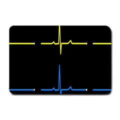 Heart Monitor Screens Pulse Trace Motion Black Blue Yellow Waves Small Doormat