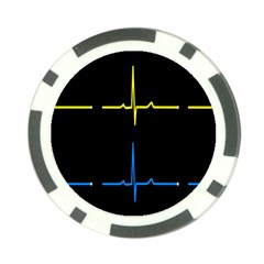 Heart Monitor Screens Pulse Trace Motion Black Blue Yellow Waves Poker Chip Card Guard (10 pack)