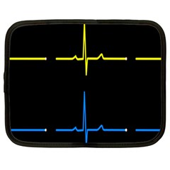 Heart Monitor Screens Pulse Trace Motion Black Blue Yellow Waves Netbook Case (XXL)