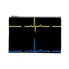 Heart Monitor Screens Pulse Trace Motion Black Blue Yellow Waves Cosmetic Bag (Large)