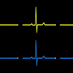 Heart Monitor Screens Pulse Trace Motion Black Blue Yellow Waves Magic Photo Cubes