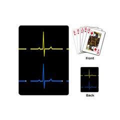 Heart Monitor Screens Pulse Trace Motion Black Blue Yellow Waves Playing Cards (Mini)