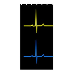 Heart Monitor Screens Pulse Trace Motion Black Blue Yellow Waves Shower Curtain 36  x 72  (Stall)