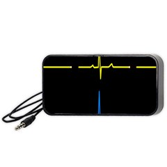 Heart Monitor Screens Pulse Trace Motion Black Blue Yellow Waves Portable Speaker (Black)