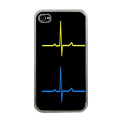 Heart Monitor Screens Pulse Trace Motion Black Blue Yellow Waves Apple iPhone 4 Case (Clear)