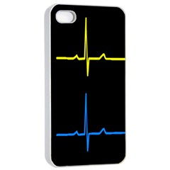 Heart Monitor Screens Pulse Trace Motion Black Blue Yellow Waves Apple iPhone 4/4s Seamless Case (White)