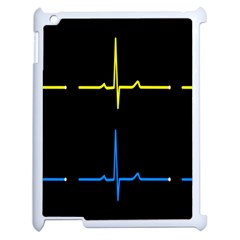 Heart Monitor Screens Pulse Trace Motion Black Blue Yellow Waves Apple iPad 2 Case (White)