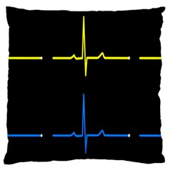 Heart Monitor Screens Pulse Trace Motion Black Blue Yellow Waves Large Cushion Case (One Side)
