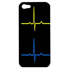 Heart Monitor Screens Pulse Trace Motion Black Blue Yellow Waves Apple iPhone 5 Hardshell Case