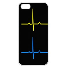 Heart Monitor Screens Pulse Trace Motion Black Blue Yellow Waves Apple iPhone 5 Seamless Case (White)