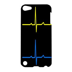 Heart Monitor Screens Pulse Trace Motion Black Blue Yellow Waves Apple iPod Touch 5 Hardshell Case