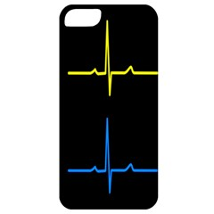 Heart Monitor Screens Pulse Trace Motion Black Blue Yellow Waves Apple iPhone 5 Classic Hardshell Case
