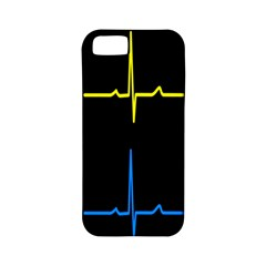 Heart Monitor Screens Pulse Trace Motion Black Blue Yellow Waves Apple iPhone 5 Classic Hardshell Case (PC+Silicone)
