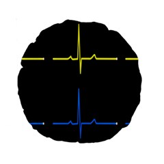 Heart Monitor Screens Pulse Trace Motion Black Blue Yellow Waves Standard 15  Premium Round Cushions