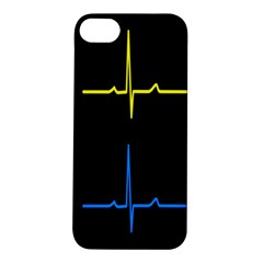 Heart Monitor Screens Pulse Trace Motion Black Blue Yellow Waves Apple iPhone 5S/ SE Hardshell Case
