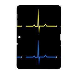 Heart Monitor Screens Pulse Trace Motion Black Blue Yellow Waves Samsung Galaxy Tab 2 (10.1 ) P5100 Hardshell Case