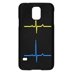 Heart Monitor Screens Pulse Trace Motion Black Blue Yellow Waves Samsung Galaxy S5 Case (black)