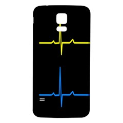 Heart Monitor Screens Pulse Trace Motion Black Blue Yellow Waves Samsung Galaxy S5 Back Case (White)