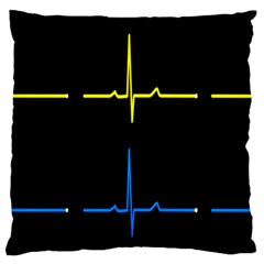 Heart Monitor Screens Pulse Trace Motion Black Blue Yellow Waves Standard Flano Cushion Case (Two Sides)