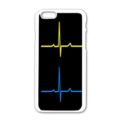 Heart Monitor Screens Pulse Trace Motion Black Blue Yellow Waves Apple iPhone 6/6S White Enamel Case