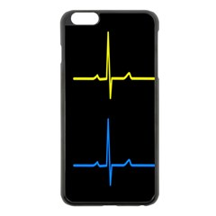 Heart Monitor Screens Pulse Trace Motion Black Blue Yellow Waves Apple iPhone 6 Plus/6S Plus Black Enamel Case
