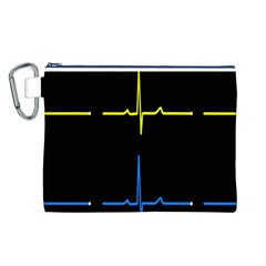 Heart Monitor Screens Pulse Trace Motion Black Blue Yellow Waves Canvas Cosmetic Bag (L)