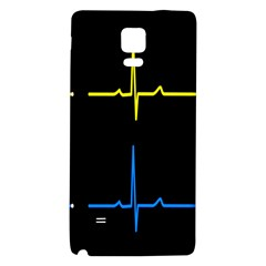 Heart Monitor Screens Pulse Trace Motion Black Blue Yellow Waves Galaxy Note 4 Back Case