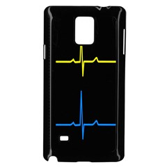 Heart Monitor Screens Pulse Trace Motion Black Blue Yellow Waves Samsung Galaxy Note 4 Case (Black)