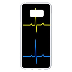 Heart Monitor Screens Pulse Trace Motion Black Blue Yellow Waves Samsung Galaxy S8 Plus White Seamless Case
