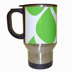 Green Water Rain Travel Mugs (White)