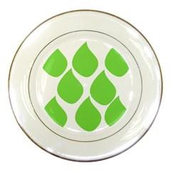 Green Water Rain Porcelain Plates