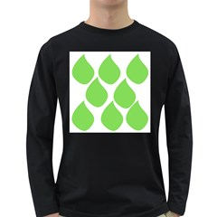 Green Water Rain Long Sleeve Dark T-Shirts