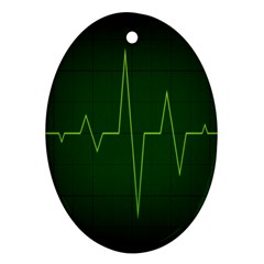 Heart Rate Green Line Light Healty Ornament (Oval)