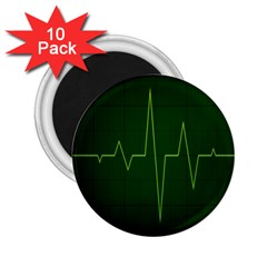 Heart Rate Green Line Light Healty 2.25  Magnets (10 pack)