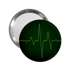 Heart Rate Green Line Light Healty 2.25  Handbag Mirrors