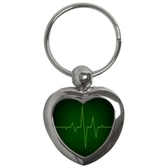 Heart Rate Green Line Light Healty Key Chains (Heart)
