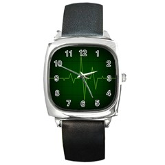 Heart Rate Green Line Light Healty Square Metal Watch