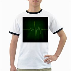 Heart Rate Green Line Light Healty Ringer T-Shirts