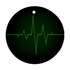 Heart Rate Green Line Light Healty Round Ornament (Two Sides)