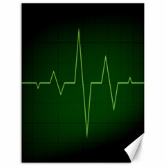 Heart Rate Green Line Light Healty Canvas 18  x 24