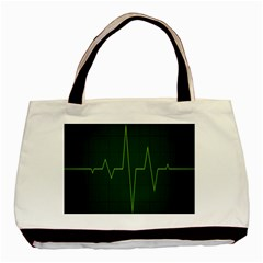 Heart Rate Green Line Light Healty Basic Tote Bag (Two Sides)
