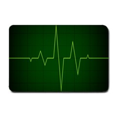 Heart Rate Green Line Light Healty Small Doormat