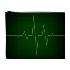 Heart Rate Green Line Light Healty Cosmetic Bag (XL)