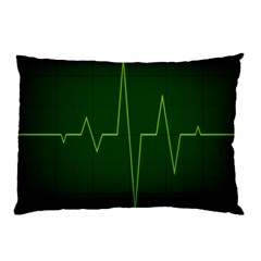 Heart Rate Green Line Light Healty Pillow Case (Two Sides)